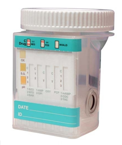 Narkotikų testo mėginio indelis, su priemaišomis, tiria 10 rūšių (25 vnt)
